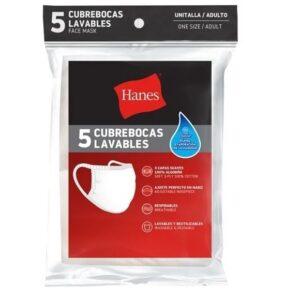 Cubrebocas Lavables Paquete De 5 Piezas Hanes